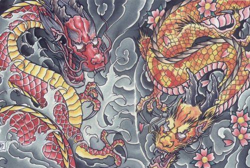 Эскизы татуировки Дракон в японском стиле тату