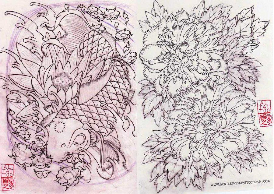 Карпы Цветы | Al Pachanka — Koi Sketchbook | Japanese Tattoo Designs