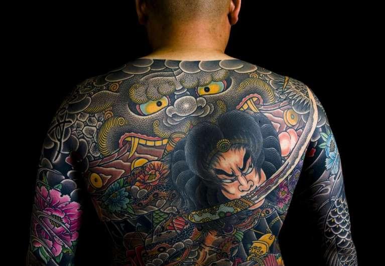 Японские тату с изображениями героев из народных легенд и сказаний.