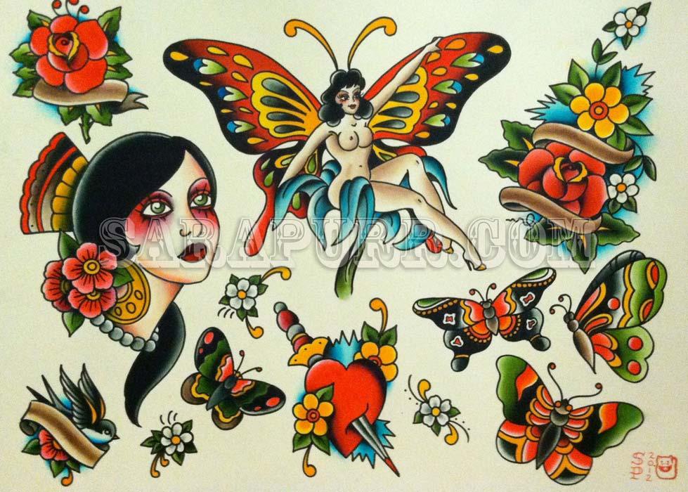 Tattoo Flash Old School by Sara Purr