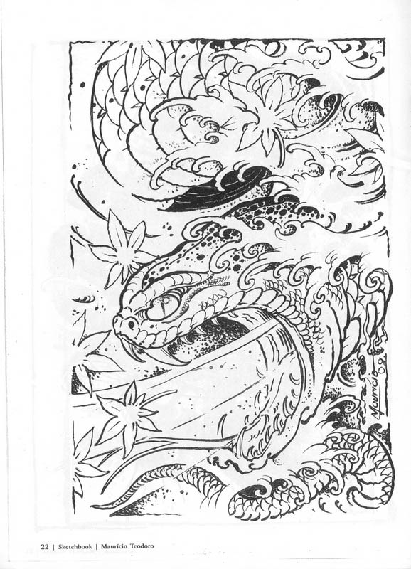 Тату змея  Sketchbook Mauricio Teodoro