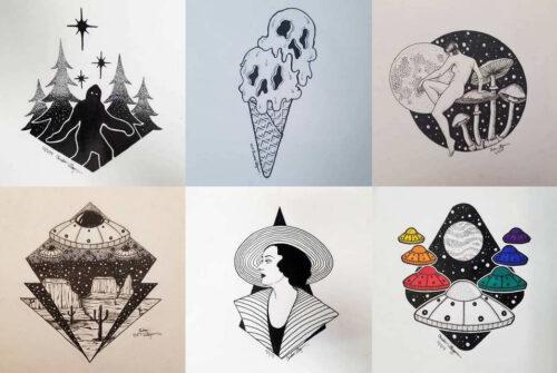 Эскизы маленьких татуировок в стиле дотворк, геометрия, лайнворк.