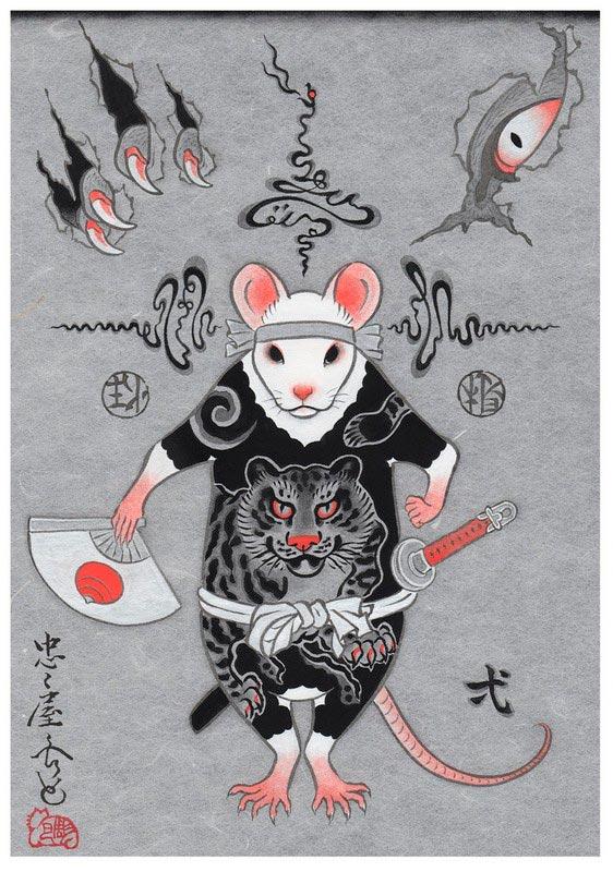 Тату Мышка самурай