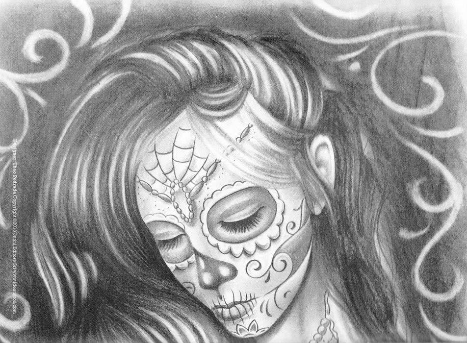 Чикано эскизы. Sketchbook Skull Woman Tattoos. Санта Муэрте.