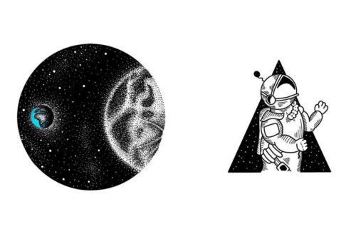 Тату космос эскизы: черно белые, минимализм, геометрия, дотворк.