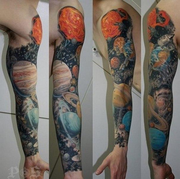 Фото тату Космос, татуировок Вселенная, Галактика
