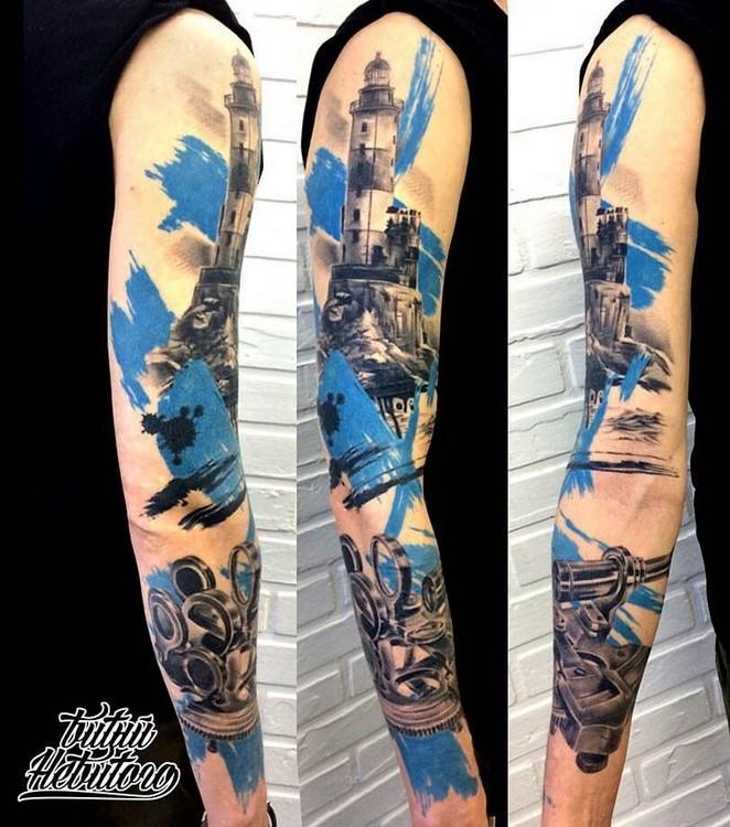 Рукав Realistic Trash polka tattoo