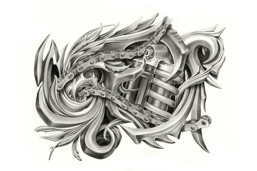 Эскизы татуировки биомеханика