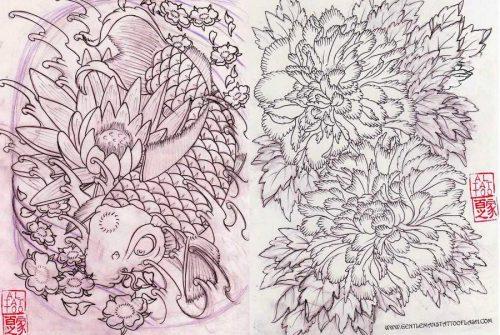 Карпы Цветы | Al Pachanka – Koi Sketchbook | Japanese Tattoo Designs