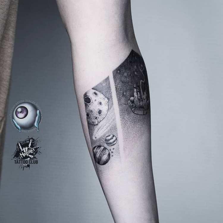 Фото тату Космос, татуировок Вселенная, Галактика.