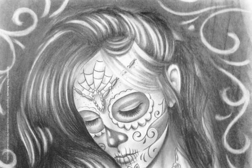 Чикано эскизы. Sketchbook Skull Woman Tattoos. Санта Муэрте.