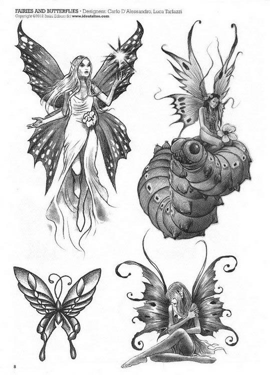 Эскизы тату Цветы, бабочки.