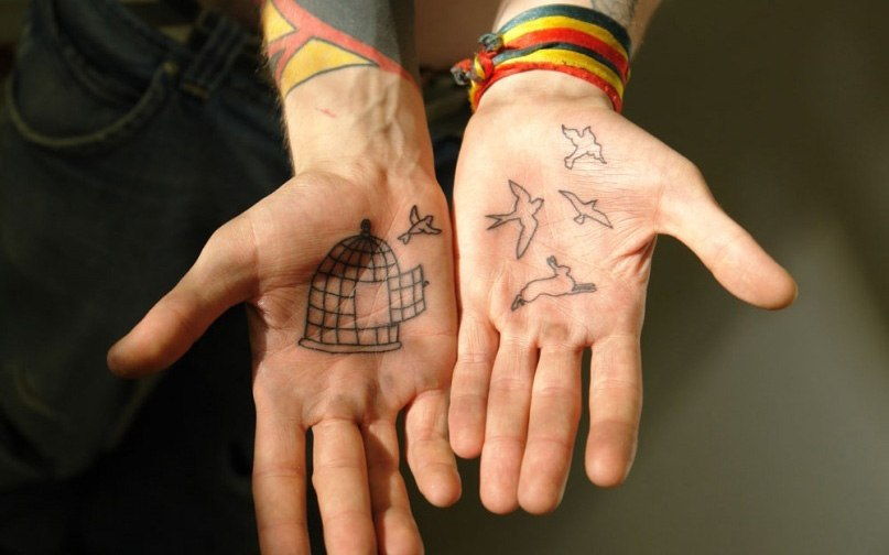 Татуировка на внутренней стороне ладони