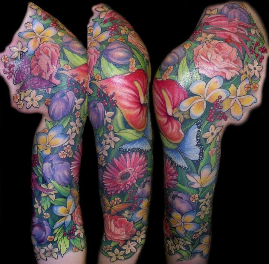 Тату рукав Цветы